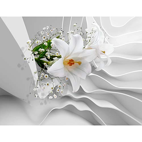 Fototapetenn Blumen 3D Lilien Weiß 352 x 250 cm Vlies Wand Tapete Wohnzimmer Schlafzimmer Büro Flur Dekoration Wandbilder XXL Moderne Wanddeko Flower 100{a86648706884740223d4eee5da85e6cfad4235ca2313cd6b8e3ea0fe56275eb3} MADE IN GERMANY - Runa Tapeten 9179011a