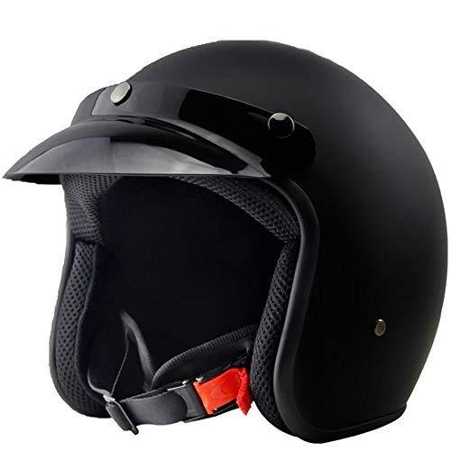 YAJAN-helmet Jet Vintage Helm Motorrad,mit Integriertem Sonnenvisier UVschutzbrille Schnellverschluss ECE Zertifiziert für Herren Damen Pedallokomotive Cruiser Roller Chopper Pilot 57-64cm