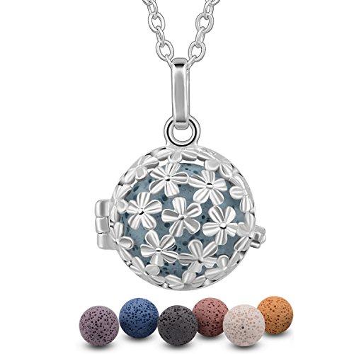 EUDORA Harmony Ball Halsketten für Frauen Aromatherapie Kette Damen Anhänger Aroma Oel Diffuser Charme Schmuck Geschenk Natürlicher Lavastein Perlen Kette 7 PCS,24