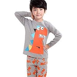 Backbuy Primavera Otoño Colección Niños Niñas de Algodón de Manga larga de Dinosaurio Gris Pijamas G7440 (5 años)