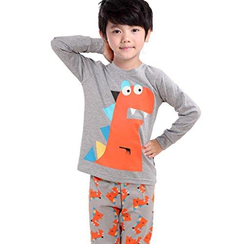 Backbuy Primavera Otoño Colección Niños Niñas de Algodón de Manga larga de Dinosaurio Gris Pijamas G7440 (7 años)