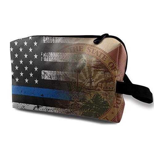 Florida Thin Blue Line Flag Portable Make-up Receive Bag Hand Cosmetic Bag Makeup Bag Sewing Kit Medicine Bag beauty bag