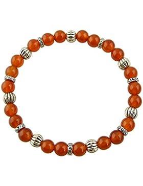 Sunsara Traumsteinshop Edelstein Sternzeichen Armband - Jungfrau - Karneol - mit silberfarbenen Tibet Perlen,...