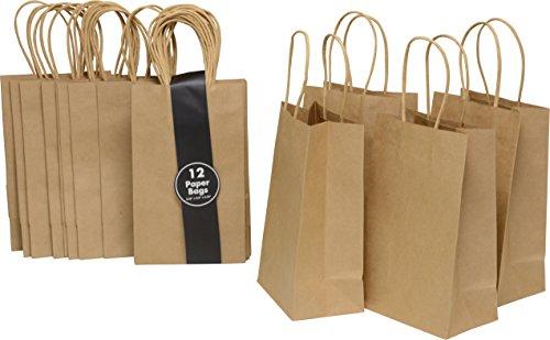 24braun Kraftpapier Beutel mit Griffen, klein Petite Größe 13,3x 21,6x 8,3cm Zwickel Taschen, Craft Project