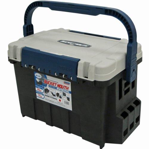 Meiho Box Seat Bucket Mouse BM-9000 - Angelkasten 542 x 340 x 350 mm, Angelkoffer mit 35 Liter Volumen, schwarz/weiß/blaue Angelbox auch als Angelsitz zu verwenden!