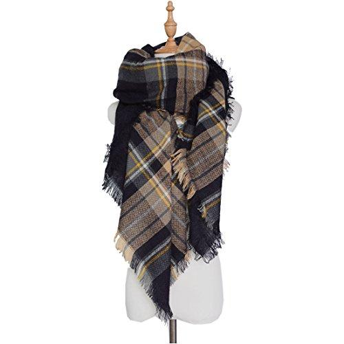 Sciarpa Sciarpa XXL Oversized rettangolare patchwork autunno inverno donna coperta Poncho sciarpa morbido caldo a quadri, Marrone, XX-Large