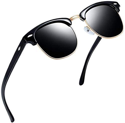 Joopin Semi Rimless polarisierte Frauen Sonnenbrillen, UV400 Brand Designer Half Frame Männer Sonnenbrille H9041(Brillanter Schwarzer Rahmen)