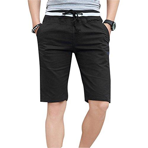 Herren Elastische Taille Shorts Bermudas Kurze Hose Sportshorts Freizeitshorts Kurzhose Schwarz XL (Elastische Taille, Bermudas)