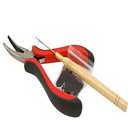 Contever® 100 pcs microring + pinza + uncinetto per extension, parrucche e accessori