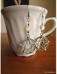 Magic pentacle earrings celtic opalite beads earrings pagan handmade