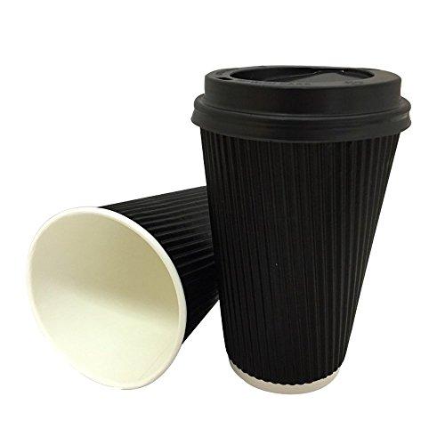 Lot de 100 gobelets Belgravia jetables pour boissons chaudes (thé/café) avec couvercles. Paroi en papier triple couche avec extérieur gaufré Rouge/noir, 355 ml
