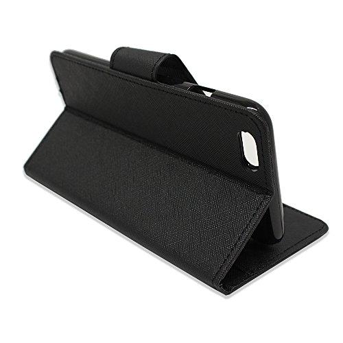 VCOMP® Kunststoff Handy Brieftasche mit Kartenfächer und Video-Standfunktion für Apple iPhone 6/ 6s + Großer Eingabestift - WEISS SCHWARZ