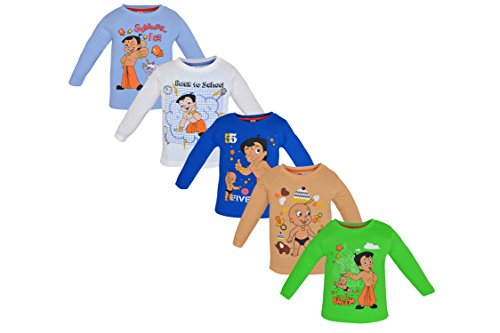 Chhota Bheem Baby Cotton Round Neck Luke and Lilly Chhota Bheem T-Shirt - Pack of 5