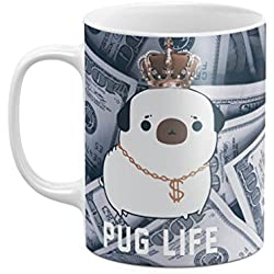 Pug Life Rich Dog Dollar Pattern 11 ounce Ceramic Tea Coffee Mug