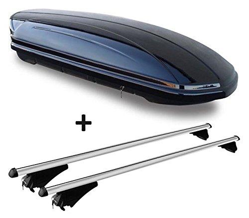 Coffre de toit Noir brillant VDP-Maa 460g voiture Coffre de toit verrouillable 460L + barres de toit en aluminium pour aufliegende reling en kit pour VW Passat B8Variant à partir de 14