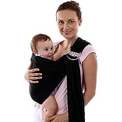 Echarpes bébé portage, Sac à dos Porte Bébéle Porte-bébé Fait de Coton Elastique,bébé sling carrier (Bleu foncé)