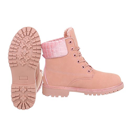 Chaussures femme Bottes et bottines Bloc Bottines a lacet Ital-Design rose AN-102