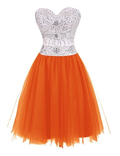 Dresstells Damen Abendkleider Kurz Homecoming Kleider Orange