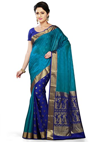fe8628c32e Utsav fashion shu345 Womens Dark Aqua And Royal Blue Pure Mysore Silk Saree-  Price in India