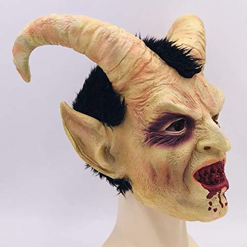 LJJY Halloween Gesicht Nishi Maske Cosplay Perücken Augen und Nasenlöcher Mund und andere Teile haben Öffnungen, um nach außen zu sehen und atmen Latex-Vollkopf-Horror-Maske