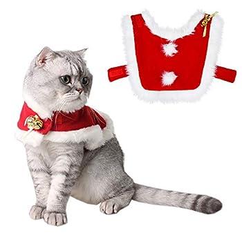 Tomkity Déguisement Chat Noël Vêtement pour Chat Noël Costume Robe Manteau pour Chat Chien avec Petite Clochette Taille Ajustable Velcro