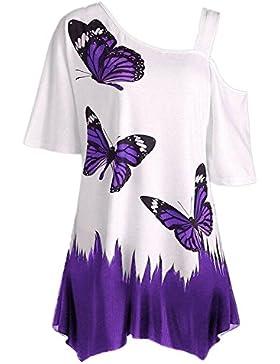 JYC Tops Tallas Grandes, Blusa Mujer Manga Cortos, Mujer Mariposa Impresión Camiseta Manga Corta Fuera del Hombro...