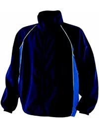 Finden & Hales Piped Showerproof Training Jacket - Navy/Royal/White - XS