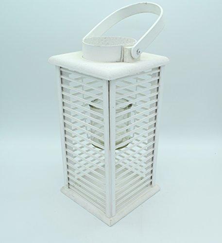E Trade Lanterna a LED in Vimini e Rattan, Colore Bianco - 3