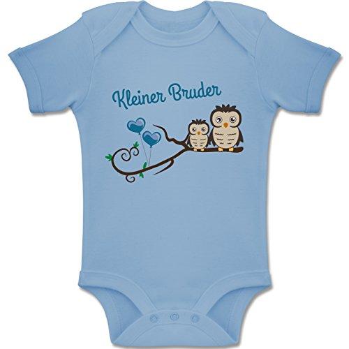 Shirtracer Geschwisterliebe Baby - Kleiner Bruder süße Eulen - 12-18 Monate - Babyblau - BZ10 - Baby Body Kurzarm Jungen Mädchen