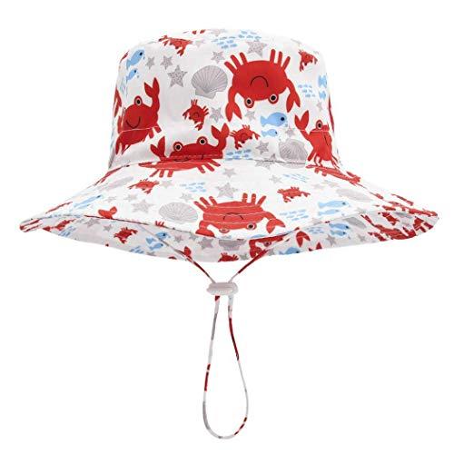 Foruhoo Mädchen Sonnenhut UV Schutz mit Kordelzug Breite Krempe Sommerhut, Kinder sommermütze (Krabbe,54cm / 4-8 Jahre) -