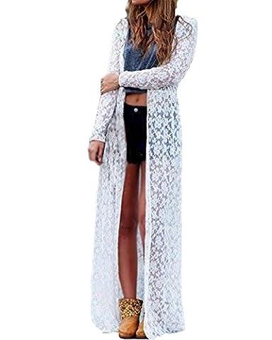 ZANZEA Women Lace Crochet Beach Open Cardigan Long Jacket Kimono Tops Maxi Dress Outwear White UK 16