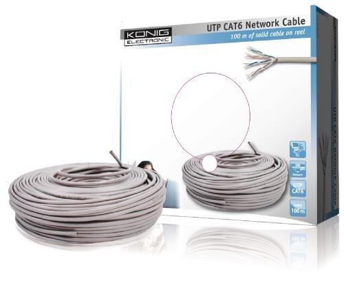 König CMP-UTP6R100S Cat6 UTP Netzwerkkabel auf der Rolle 10m grau -