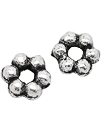 Hexawata Antique Silver Color Flower Shape Spacer Beads Pack Of 500pcs