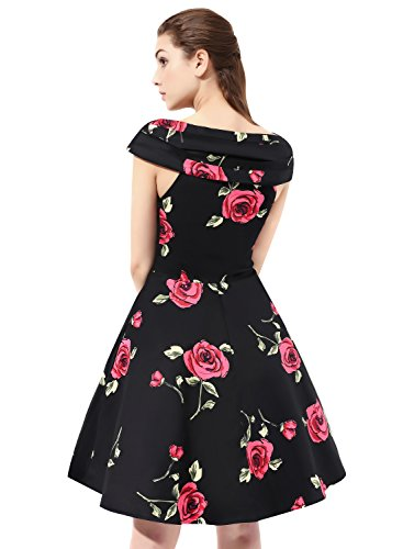 Find Dress 50er Jahre Vintage-Kleid Retro Audrey Hepburn Rockabilly Kleid FD10037 Medium -
