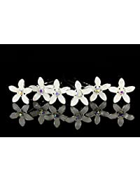 Venus y joyería de las mujeres conjunto de 6blanco flor de azahar AB Cristal Pelo Pasadores H098
