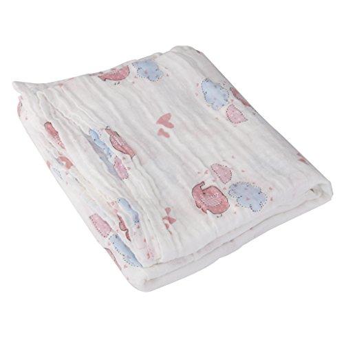 Musselin Baumwolldecke Newborn Baby Blanket Swaddle Badetuch Rosa Elefanten