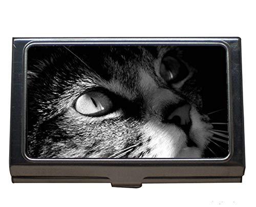 Visitenkartenhalter aus Edelstahl, Katze weiß schwarz Visitenkartenetui für Herren und ()