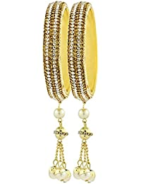 The Jewelbox Designer Dangling CZ Pearl 18K Gold Plated Bangle Kada Set Of 2 For Girls Women