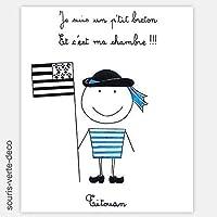 Plaque de porte petit breton avec prénom, prénom porte chambre personnalisable,déco chambre garçon enfant bébé breton, cadeau naissance bébé breton, drapeau breton, bretagne