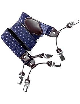 Qingying】Tirantes Neutral ajustable Muy amplia & largo correa Y estilo Elastano poliéster doble metálicos clips...