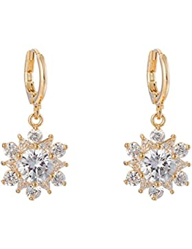 YAZILIND Frauen-elegantes Gold 18K überzog Blumen-Zirkonia-Kristallband Dangel Ohrringe