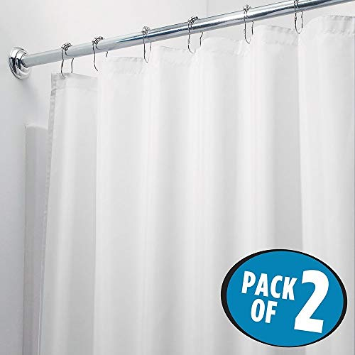 mDesign Juego de 2 cortinas para baño de poliéster – Bonita cortina para bañera y ducha con 12 ojales reforzados e imanes en el dobladillo – Práctica cortina de baño impermeable antimoho – blanco