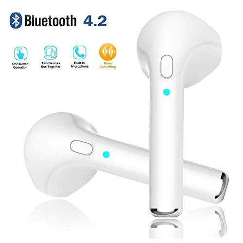 Kabellose Bluetooth Kopfhörer, Drahtlose Stereo Kopfhörer In-Ear Ohrhörer Schnurlos Headset Eingebautes Mikrofon Tragbarer Ladestation Box für iOS und Android