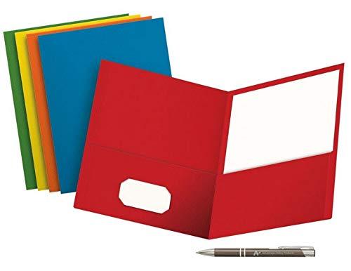 VALUE PACK VON 5School Grade Twin Pocket Ordner; no, Verbindungselemente 5Farben und einen Bonus advantageop schwarz und Chrom Einziehbarer Stift 8.5 x 11 (Standard) Blue, Green, Purple, Red, Yellow