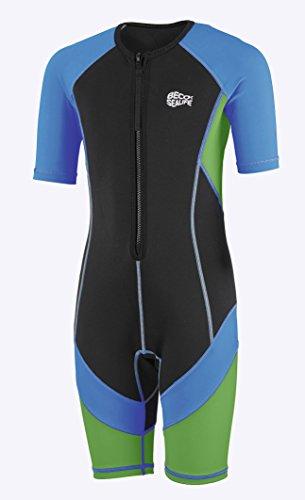 Beco Jungen Sealife Kinder Schwimmanzug, Neoprenanzug, Shorty mit UV Schutz, blau/Grün, 80