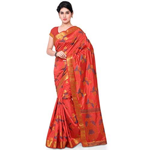 Varkala Silk Sarees Women's Art Silk Banarasi Saree With Blouse Piece(ND1019GJ_Rust_Free Size)
