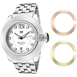 Glam Rock Watches Unisex Quartz Watch with White Dial Analogue Display and White Leather Strap 0.96.2259