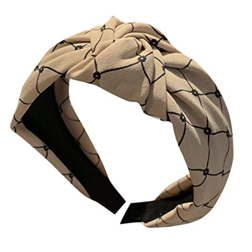 kolila Billig Stirnband Haarspange Ausverkauf Damenmode Twisted Knot Zubehör Bedruckt Breites Haarband Damen Mädchen(Khaki)