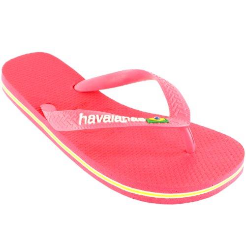 Femmes Havaianas Logo Glissement Tongs Ete Playa Sandales Nouveau Néon Rose