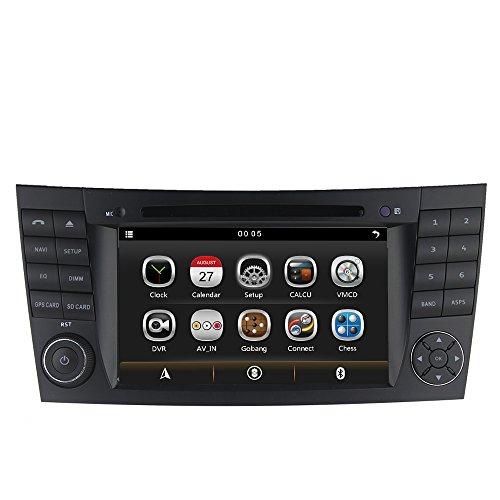 LIKECAR 2 DIN Autoradio Multimedia Sat Navi GPS DVD Navigationssystem für Mercedes Benz E Klasse 220 W211 2002-2008(E200,E220,E240,E270,E280,E300,E320,E350,E400,E420,E55,E500) CLK W209 2005-2006 G-Class W463 G350 G500 G55 2001-2008 CLS W219 (CLS350,CLS500,CLS550,CLS55,CLS66 AMG) 2004-2011 mit FM AM Dual Zone Ipod Blueooth RDS USB SD Lenkradkontrolle Audio Video Stereo Deutsch menu 3G Unterstützung Kamera DVR TV Touch Screen